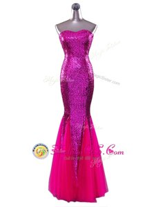 Cheap Mermaid Fuchsia Prom and Party and For with Sequins Strapless Sleeveless Zipper