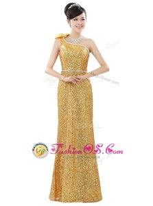 One Shoulder Gold Sleeveless Beading and Sequins Floor Length Prom Dress