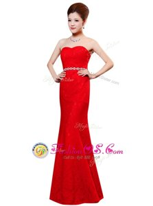Sweet Red Sweetheart Zipper Beading and Lace Dress for Prom Sleeveless