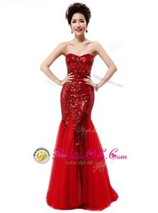 Mermaid Strapless Sleeveless Prom Dress Sequins Wine Red Sequined