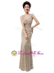 V-neck Sleeveless Sequined Evening Dress Sequins Zipper