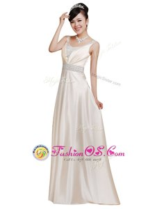 Hot Selling Sleeveless Floor Length Beading Zipper Mother Of The Bride Dress with White