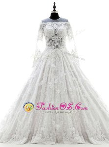 Lace White Wedding Dresses Wedding Party and For with Appliques Scoop Long Sleeves Court Train Zipper