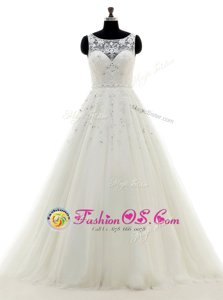 White Wedding Gown Wedding Party and For with Beading and Lace and Appliques Scoop Sleeveless Brush Train Backless