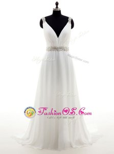 Pretty With Train White Wedding Gowns Organza Brush Train Sleeveless Beading