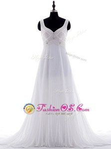 Trendy With Train Zipper Wedding Dresses White and In for Wedding Party with Beading and Pleated Brush Train