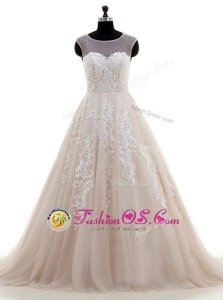 Beautiful Scoop Peach Cap Sleeves Brush Train Lace and Appliques With Train Wedding Dress