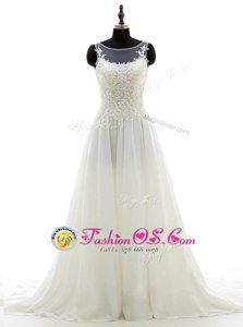 Cheap White Clasp Handle Scoop Lace Wedding Dress Chiffon Sleeveless Brush Train