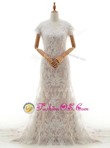 Mermaid White Lace Clasp Handle Bridal Gown Cap Sleeves With Train Chapel Train Lace and Appliques