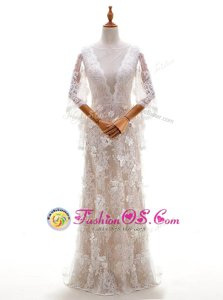 Adorable White Column/Sheath Beading and Lace and Appliques Wedding Gown Criss Cross Lace Sleeveless With Train