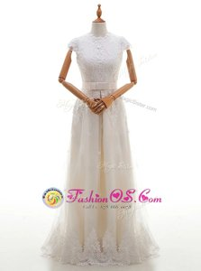 Hot Sale Lace Scoop Cap Sleeves Brush Train Zipper Wedding Gown White Tulle