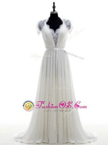 Ideal Short Sleeves With Train Lace Clasp Handle Wedding Gown with White Brush Train
