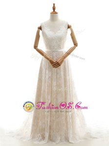 Champagne Empire V-neck Sleeveless Lace With Train Chapel Train Zipper Lace Bridal Gown