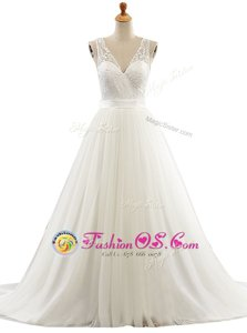 Best Selling Tulle V-neck Sleeveless Brush Train Clasp Handle Lace Wedding Dress in White