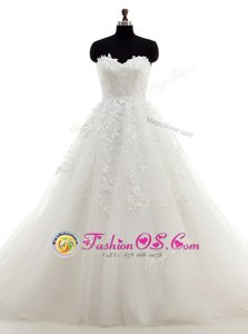 With Train A-line Sleeveless White Wedding Dress Brush Train Clasp Handle
