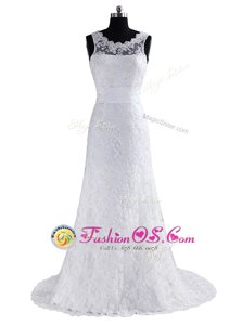 Scoop White Column/Sheath Lace Scalloped Sleeveless Lace and Appliques and Bowknot With Train Backless Wedding Dresses Brush Train