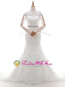 Pretty Scoop Lace With Train Mermaid Long Sleeves White Bridal Gown Brush Train Clasp Handle