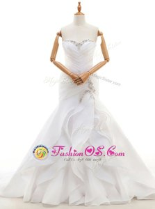 Edgy Sweetheart Sleeveless Court Train Lace Up Bridal Gown White Organza