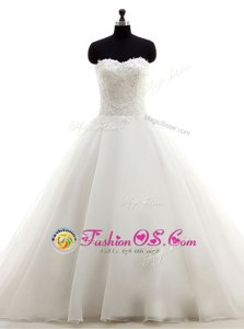 Super White Sleeveless Sweep Train Beading and Lace With Train Wedding Dress