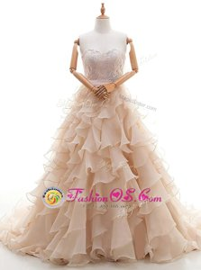Best Selling Sleeveless Brush Train Lace and Ruffled Layers Lace Up Wedding Dress