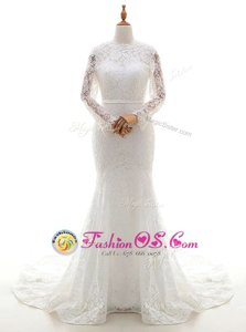 Mermaid Lace With Train White Wedding Dresses Scalloped Long Sleeves Brush Train Zipper