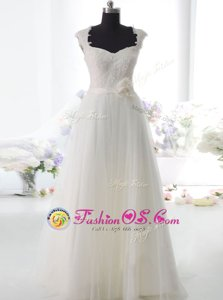 Luxurious Tulle Square Sleeveless Side Zipper Lace and Hand Made Flower Bridal Gown in White