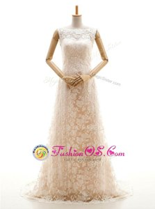 Great Champagne Wedding Gowns Wedding Party and For with Lace Bateau Sleeveless Sweep Train Clasp Handle