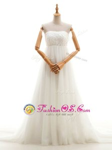 Inexpensive Sleeveless Court Train Zipper With Train Lace Wedding Dress