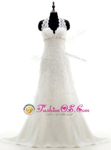 Cute Halter Top Lace Sleeveless Wedding Dress Brush Train and Lace and Appliques