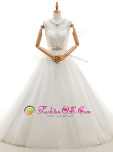 Edgy Brush Train Ball Gowns Wedding Gown White Scoop Tulle Sleeveless With Train Clasp Handle
