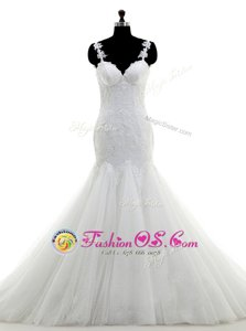 Cheap White Tulle Lace Up Off The Shoulder Sleeveless Floor Length Wedding Dresses Ruching