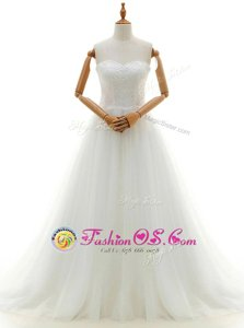 Enchanting Tulle Sleeveless With Train Wedding Gown Brush Train and Lace