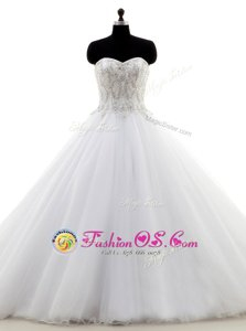 Dramatic Sleeveless Sweep Train Zipper With Train Appliques Bridal Gown