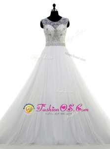 Excellent White Wedding Gowns Wedding Party and For with Appliques V-neck Sleeveless Brush Train Zipper