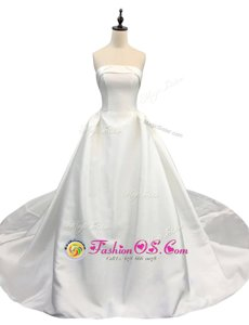 Unique Ruching Wedding Gown White Zipper Sleeveless With Brush Train