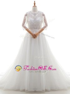 New Arrival Scoop White Organza Clasp Handle Wedding Gown 3|4 Length Sleeve With Brush Train Beading and Lace