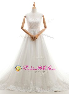 Free and Easy White A-line Tulle Sweetheart Sleeveless Appliques With Train Clasp Handle Bridal Gown Court Train