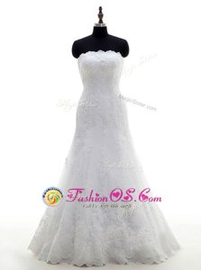 Hot Sale White Sleeveless Lace Floor Length Wedding Gown
