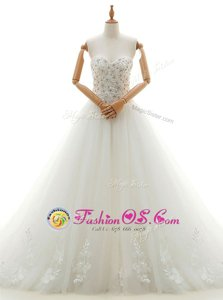 Sleeveless Chapel Train Beading and Appliques Lace Up Wedding Gown