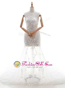 Sleeveless Tulle With Train Court Train Zipper Wedding Dress in White for with Beading and Sequins