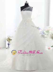 Beautiful One Shoulder With Train Ball Gowns Sleeveless White Wedding Dress Brush Train Lace Up