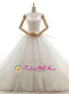 Stylish Tulle Sleeveless With Train Wedding Dress Chapel Train and Lace