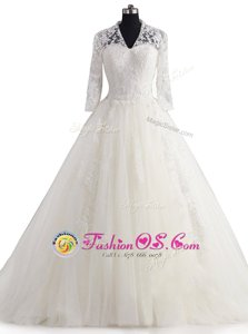 Spectacular With Train Zipper Bridal Gown White and In for Wedding Party with Appliques Brush Train