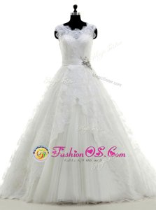 Scoop Sleeveless Brush Train Beading and Lace and Appliques Clasp Handle Wedding Dresses