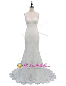 Fashionable Mermaid Sleeveless With Train Lace Backless Wedding Gowns with White Brush Train