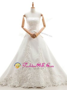 Shining With Train Lace Up Wedding Dresses White and In with Lace Chapel Train