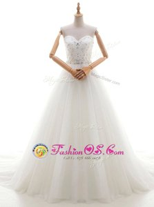 Spectacular Sleeveless With Train Beading and Appliques Lace Up Wedding Dress with White Brush Train