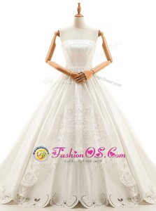 Sleeveless Cathedral Train Appliques Lace Up Bridal Gown
