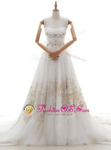 With Train Lace Up Bridal Gown White and In for Wedding Party with Appliques and Bowknot Chapel Train