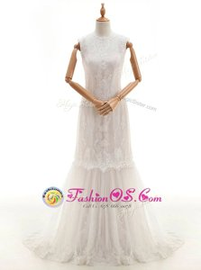 Gorgeous Sleeveless With Train Lace Clasp Handle Bridal Gown with White Brush Train